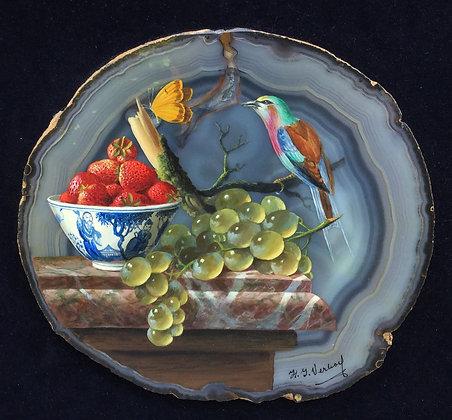 B1364, Hans J. Verhoef, stilleven met fruit, vogel en chinees porselein