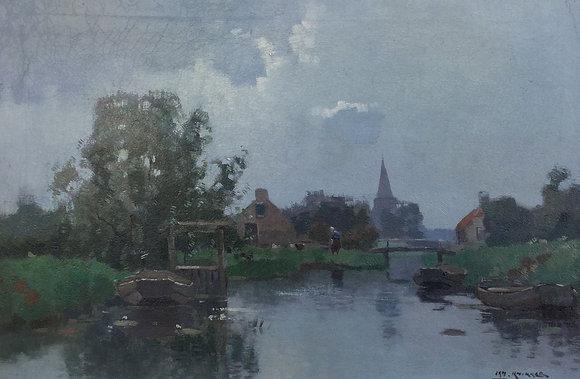 B2193, Jan Knikker, Boerderij aan het water met kerktoren
