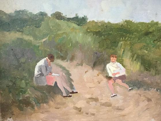 C4149-14, Jacob de Heer Kloots, studie van zonaanbidders in de duinen