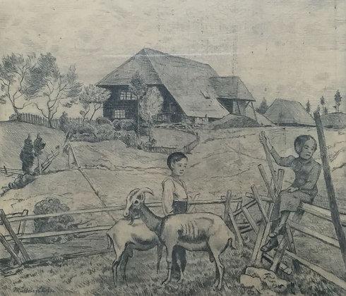 C4483-50, Hans Thoma, Kinderen met geitjes