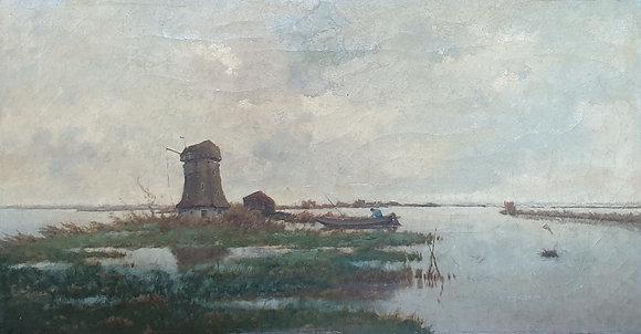 WS00120, van Smorenburg, plasgezicht met molen