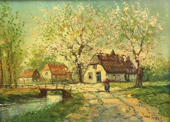 C4856-3, J. van Soest, Boerderij met bloesembomen