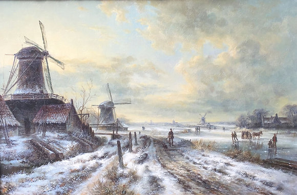 C4032, Hollandse School, winterlandschap