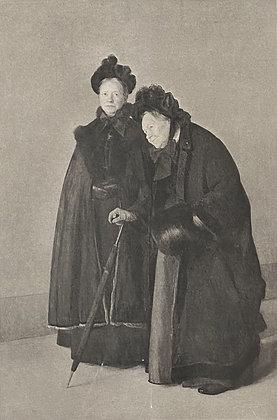 """C4710-1, Rudolf Bacher, Litho van het schilderij """"Zwei schwestern""""."""