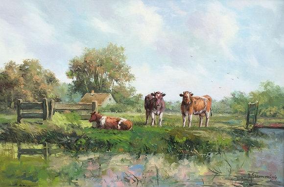 C4709, Albert Temming, koeien aan de waterkant