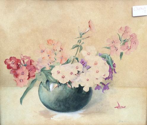 C3934-3, J. Paris, Stilleven met bloemen in vaas