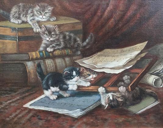 C4430W, Spelende kittens tussen de paperassen, ongesigneerd