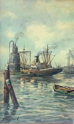C4811-10, D. Oudheusden, Vrachtschip in de haven