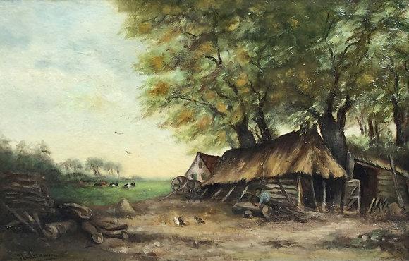 A6225, gesigneerd H. van Leeuwen, Landschap met boer bij boerenschuur