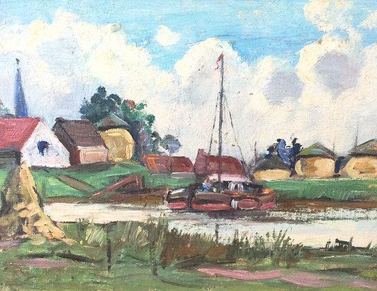 9858-5, Willem Frederik Daniels, Dorp langs de vaart met boot