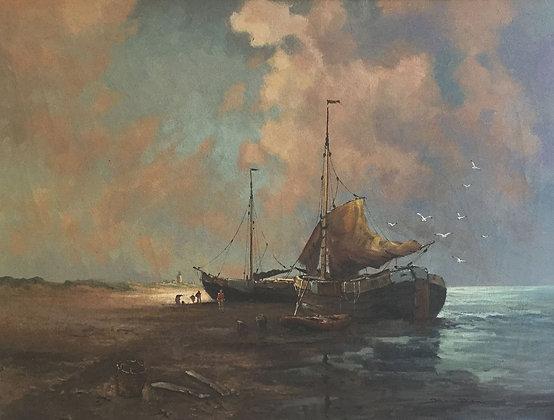 C4656, Jos van Dijk, vissersboten aan het strand
