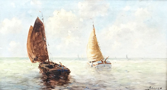C4261, gesigneerd J. Delden, Zeegezicht met twee zeilschepen