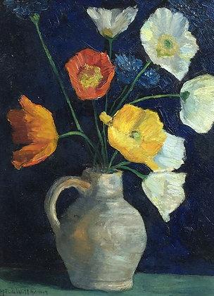 C4311, Herman Dirk de Witt Hamer, Stilleven met bloemen in witte kan