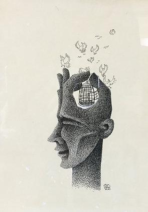 C4851, Surrealistische voorstelling met hoofd, hand en vogelkooi