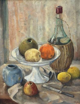 B9418, M Klok, keukenstilleven met kruik wijn en fruit
