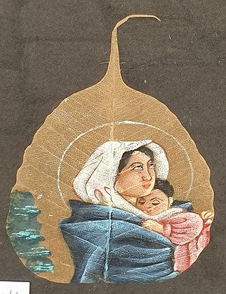 A5221-4, Moeder en kind, geschilderd op boomblad