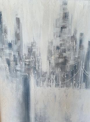 WS00121, Kunstenaar onbekend, geabstraheerd stadsgezicht