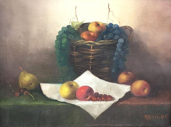 C4238, Reinier Wildeboer, Stilleven met fruit en rieten mand