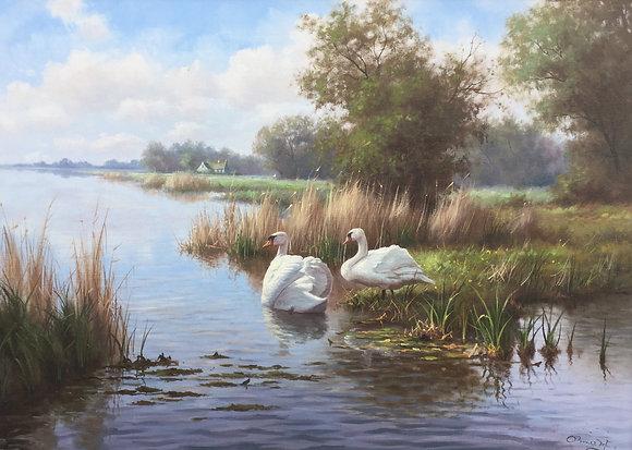 C2263, Ron Meilof, Waterlandschap met zwanen