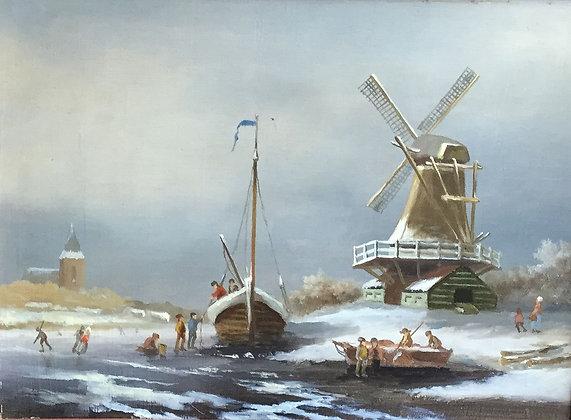 C4646-1, J.A.H. Voogt, IJsgezicht met molen