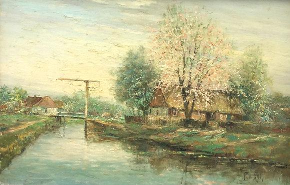 C4105-4, P. van Zijl, Boerderij aan het water met ophaalbrug