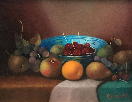 C4234, Reinier Wildeboer, Stilleven met fruit en blauwe schaal