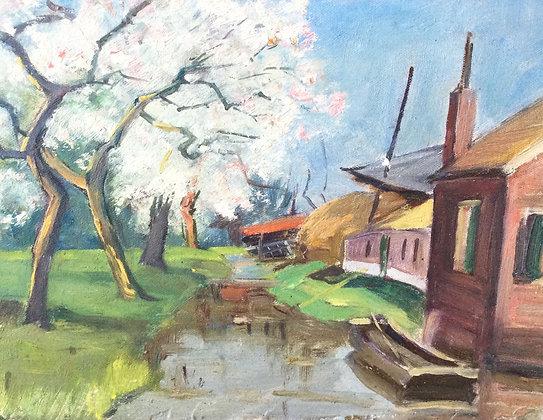 9857-23, W.F. Daniels, Boomgaard langs de vaart