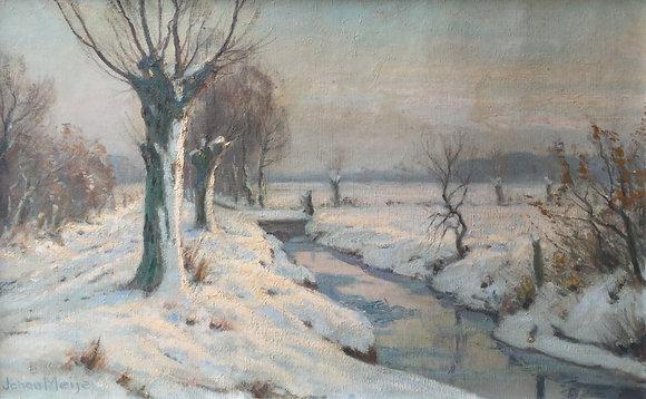 C3657, Johan Meijer, Winter aan de Gooyersgracht Blaricum