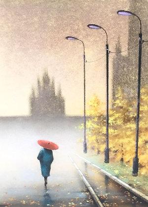 C4710-11, kunstenaar onbekend, Vrouw met rode paraplu
