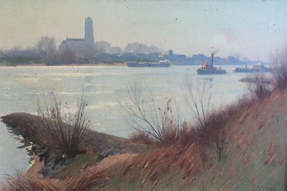 C4606, Henk Dekker, riviergezicht de Waal bij Geldermalsen