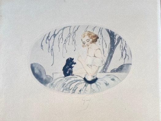 C5073-5, Guy, Portret van vrouw met huisdiertje
