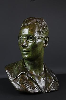 C4576, Edouard Vereycken,Gepatineerde bronzen buste, man met bril