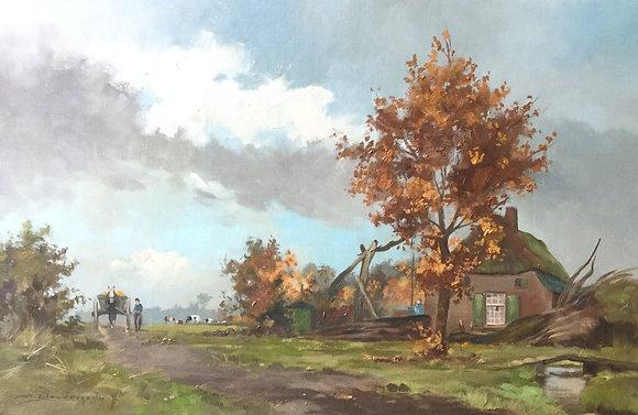 C4696-5, A. Gloudemans, Landschap met koeien en boerderij
