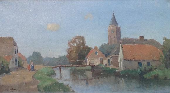 A9150, Jan Knikker (sr.), Boerendorp met kerktoren