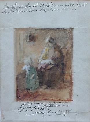 C3620, Albert Neuhuys, moeder met kinderen in interieur