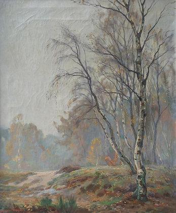 C3658, Johan Meijer, Hefstmorgen -Berkenboom in landschap