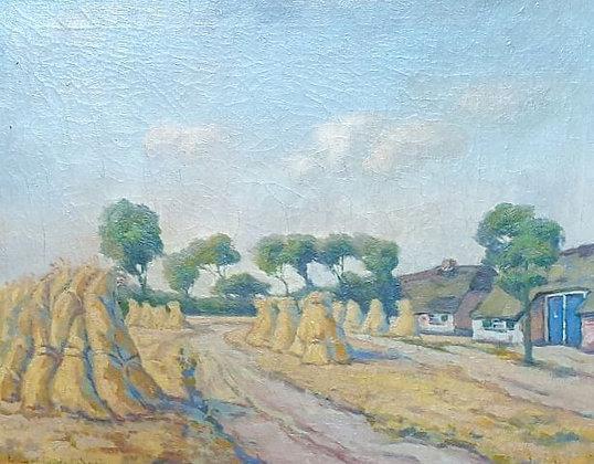 WS00115, Kunstenaar onbekend, Korenschoven bij de boederij