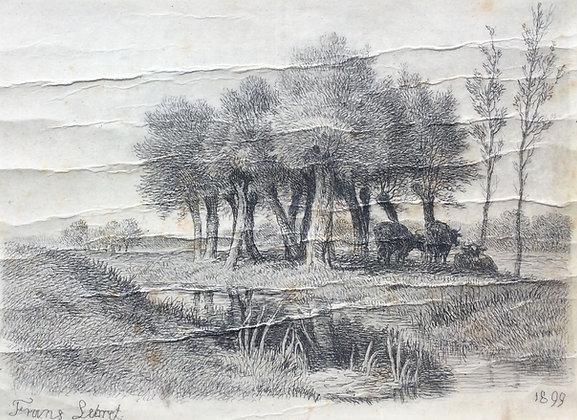 C5033-9, Frans Lebret, Koeien rusten in de schaduw