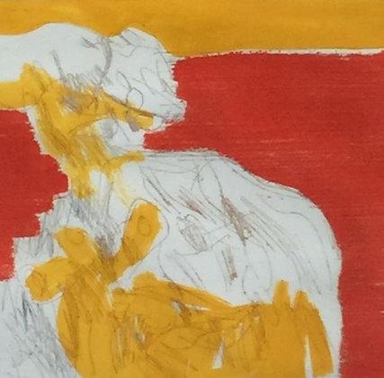 C3340-5, Abstracte compositie met geel en rood