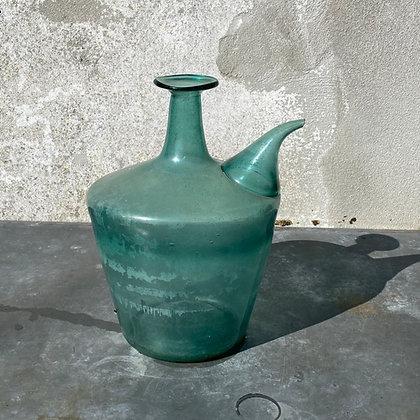 WS00058, Fraai antieke tuitfles, groen glas, 35 cm hoog