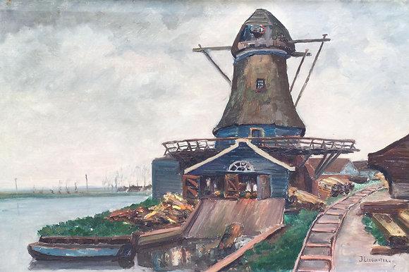 C3879A-1, J. Leegwater, Polderlandschap met molen langs vaart