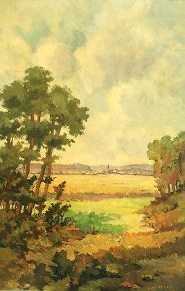 6206, Koerd van den Berg,Zicht vanuit bos op dorpje met kerk