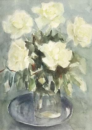 C4461-A16, Jopie Limburg, stilleven met witte rozen