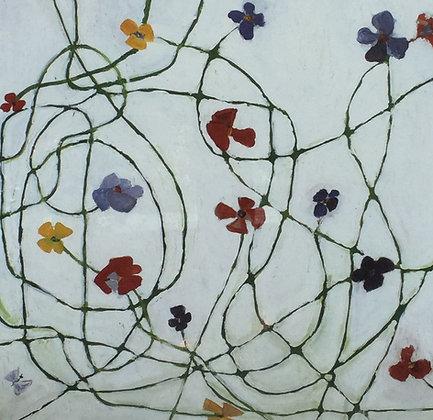 A9344, Caroline Lejeune, abstracte voorstelling met bloemen