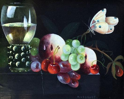 A8157, Hans J. Verhoef, stilleven met fruit, vlinder en wijnglas