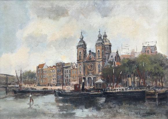 C3790, H.C. Kranenburg, Zicht op St. Nicolaaskerk Amsterdam
