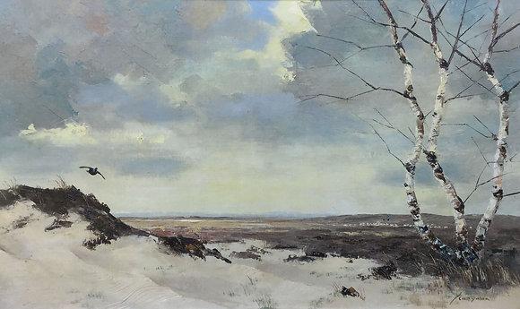 C4692, Jo Schrijnder, Duinlandschap met opvliegende korhoen