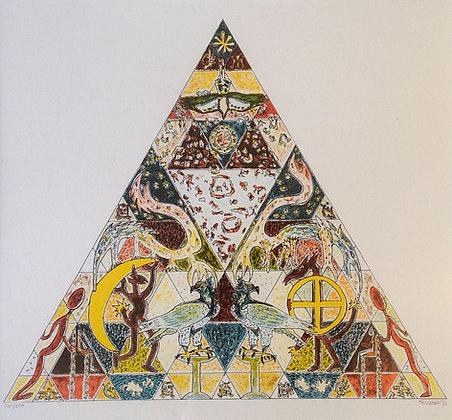 B2793-3, Voorstelling met figuren en dieren in driehoeksvorm
