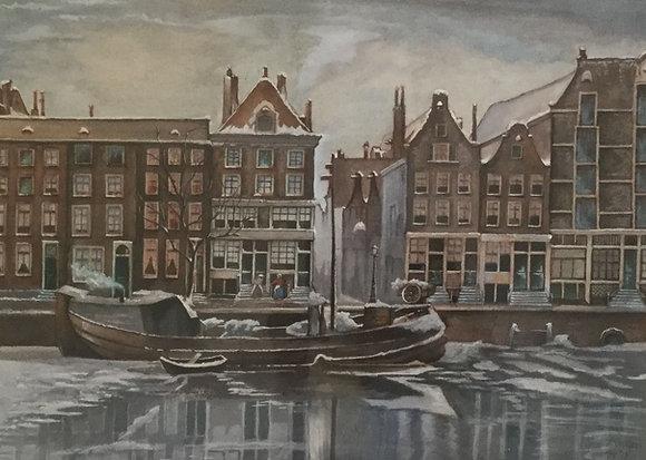C3752-2, F. Wolters, Amsterdamse gracht in de winter