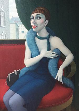C4724-4, L'Herminez, vrouw op rode bank